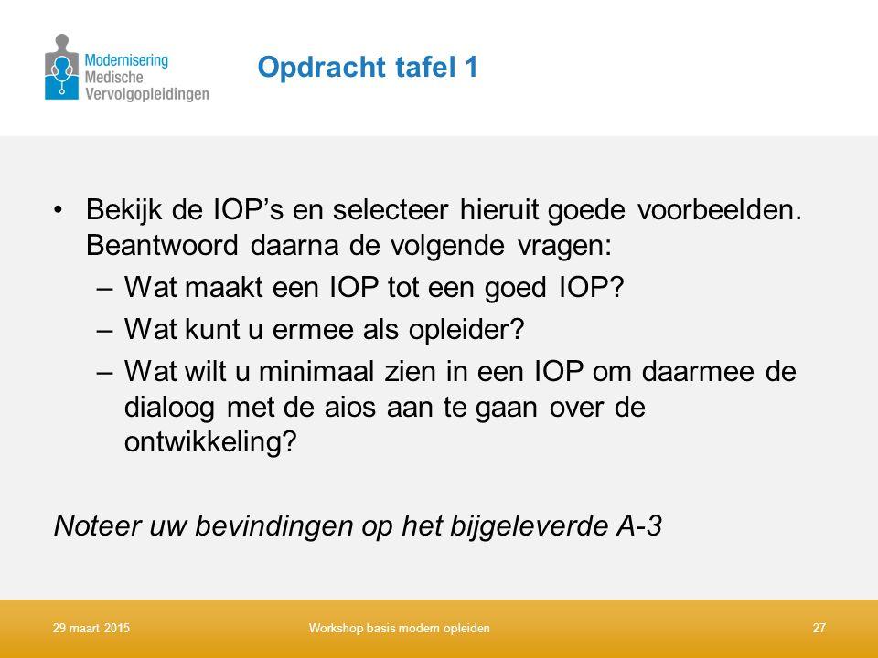 Opdracht tafel 1 Bekijk de IOP's en selecteer hieruit goede voorbeelden. Beantwoord daarna de volgende vragen: –Wat maakt een IOP tot een goed IOP? –W