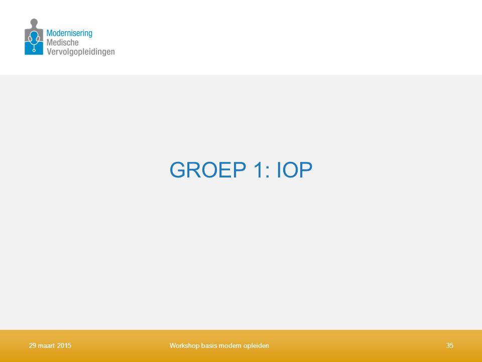 GROEP 1: IOP 29 maart 201535Workshop basis modern opleiden