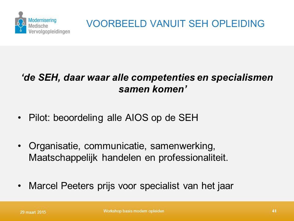 VOORBEELD VANUIT SEH OPLEIDING 'de SEH, daar waar alle competenties en specialismen samen komen' Pilot: beoordeling alle AIOS op de SEH Organisatie, c