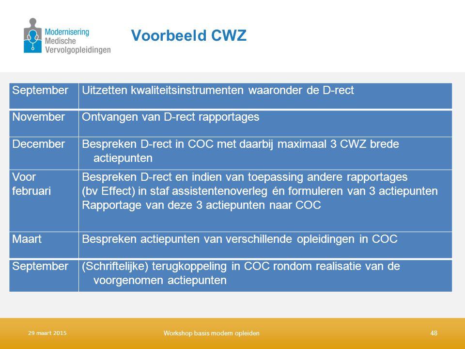 Voorbeeld CWZ SeptemberUitzetten kwaliteitsinstrumenten waaronder de D-rect NovemberOntvangen van D-rect rapportages DecemberBespreken D-rect in COC m