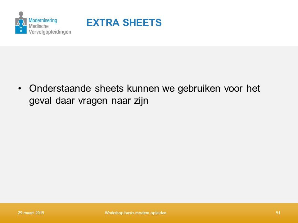 EXTRA SHEETS Onderstaande sheets kunnen we gebruiken voor het geval daar vragen naar zijn 29 maart 2015Workshop basis modern opleiden51
