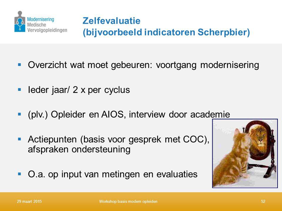 Zelfevaluatie (bijvoorbeeld indicatoren Scherpbier)  Overzicht wat moet gebeuren: voortgang modernisering  Ieder jaar/ 2 x per cyclus  (plv.) Oplei