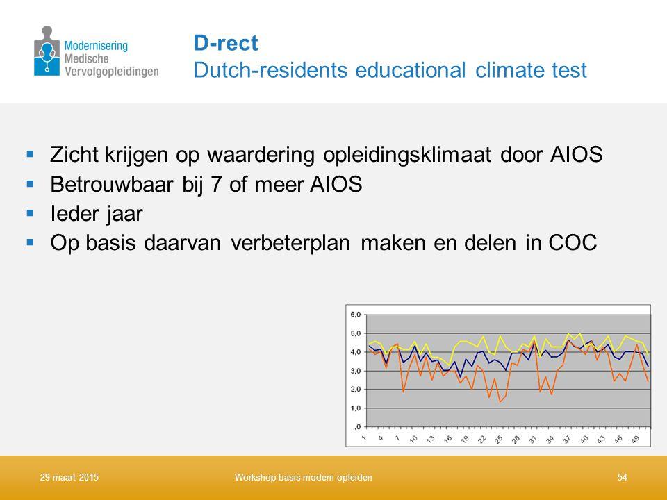 D-rect Dutch-residents educational climate test  Zicht krijgen op waardering opleidingsklimaat door AIOS  Betrouwbaar bij 7 of meer AIOS  Ieder jaa
