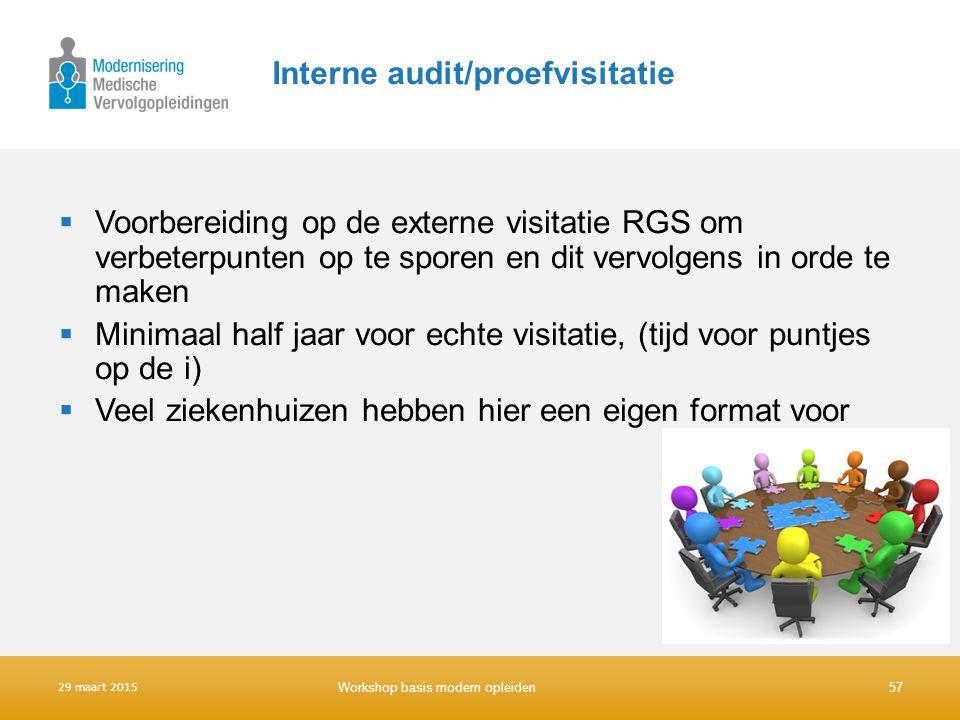 Interne audit/proefvisitatie  Voorbereiding op de externe visitatie RGS om verbeterpunten op te sporen en dit vervolgens in orde te maken  Minimaal