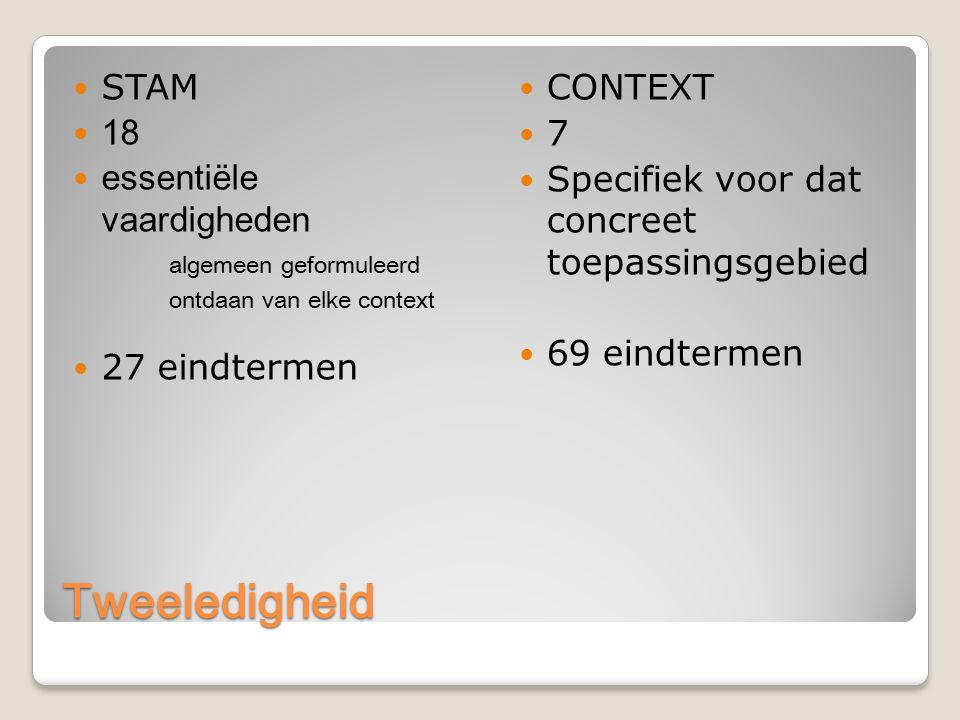 Tweeledigheid STAM 18 essentiële vaardigheden algemeen geformuleerd ontdaan van elke context 27 eindtermen CONTEXT 7 Specifiek voor dat concreet toepassingsgebied 69 eindtermen