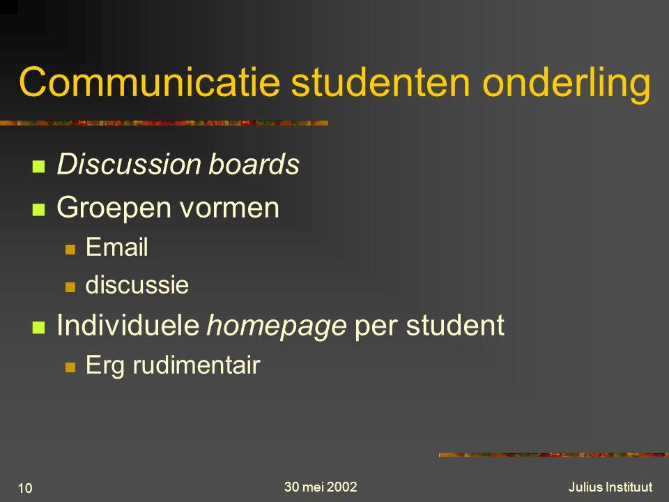30 mei 2002Julius Instituut 10 Communicatie studenten onderling Discussion boards Groepen vormen Email discussie Individuele homepage per student Erg rudimentair