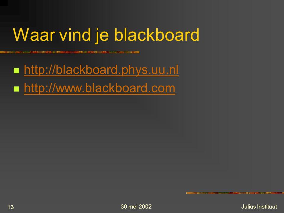 30 mei 2002Julius Instituut 13 Waar vind je blackboard http://blackboard.phys.uu.nl http://www.blackboard.com