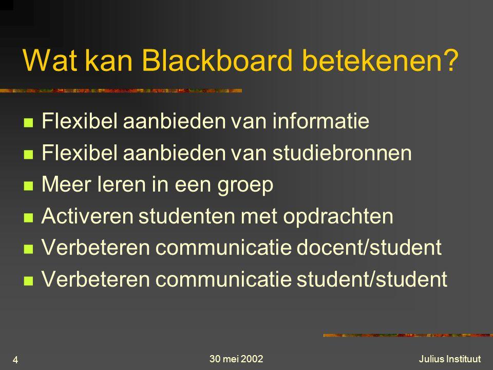 30 mei 2002Julius Instituut 4 Wat kan Blackboard betekenen.
