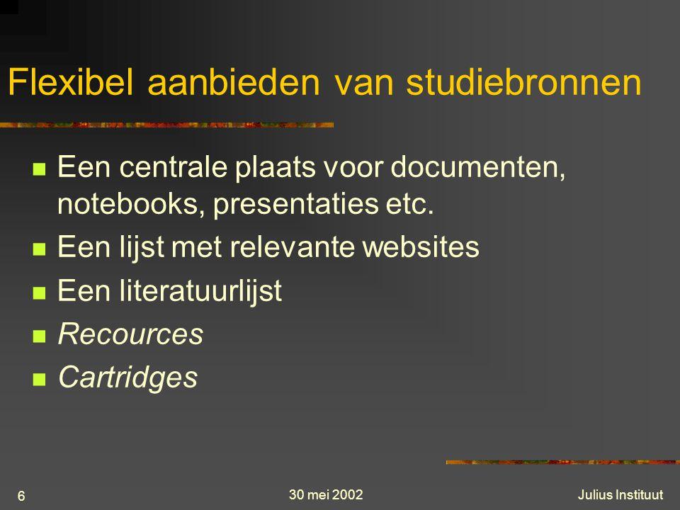 30 mei 2002Julius Instituut 6 Flexibel aanbieden van studiebronnen Een centrale plaats voor documenten, notebooks, presentaties etc.