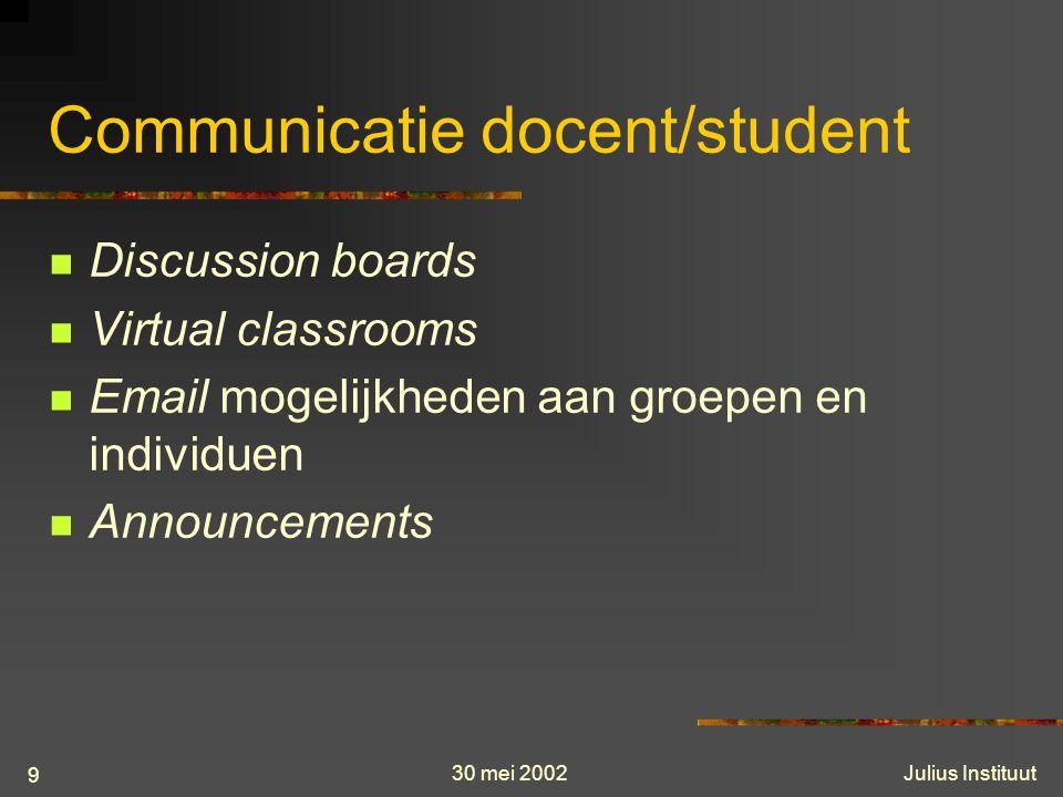 30 mei 2002Julius Instituut 9 Communicatie docent/student Discussion boards Virtual classrooms Email mogelijkheden aan groepen en individuen Announcements