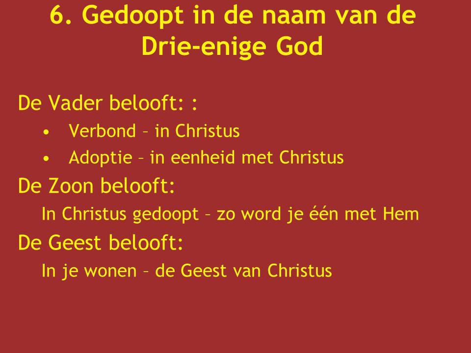 6. Gedoopt in de naam van de Drie-enige God De Vader belooft: : Verbond – in Christus Adoptie – in eenheid met Christus De Zoon belooft: In Christus g