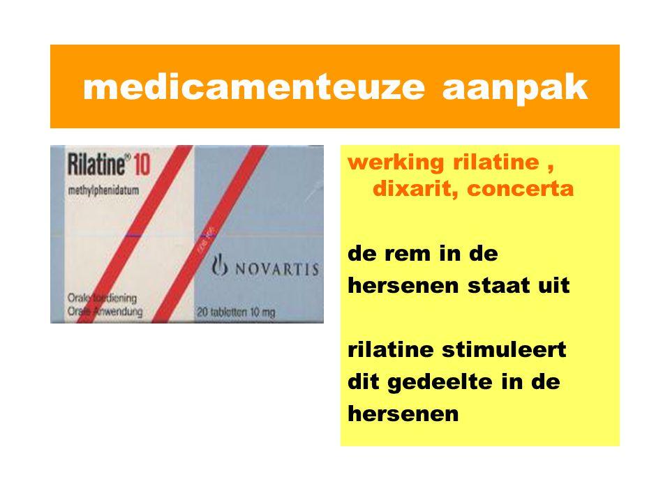 medicamenteuze aanpak werking rilatine, dixarit, concerta de rem in de hersenen staat uit rilatine stimuleert dit gedeelte in de hersenen