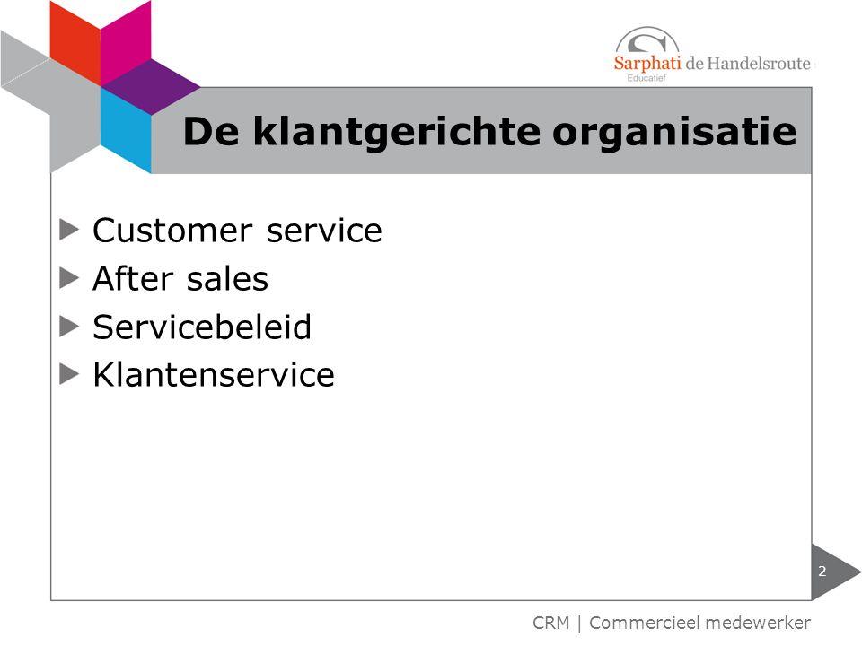 Customer service After sales Servicebeleid Klantenservice 2 CRM | Commercieel medewerker De klantgerichte organisatie