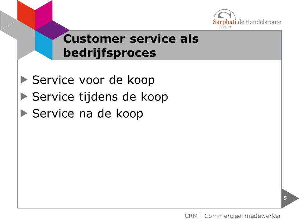Service voor de koop Service tijdens de koop Service na de koop 5 CRM | Commercieel medewerker Customer service als bedrijfsproces
