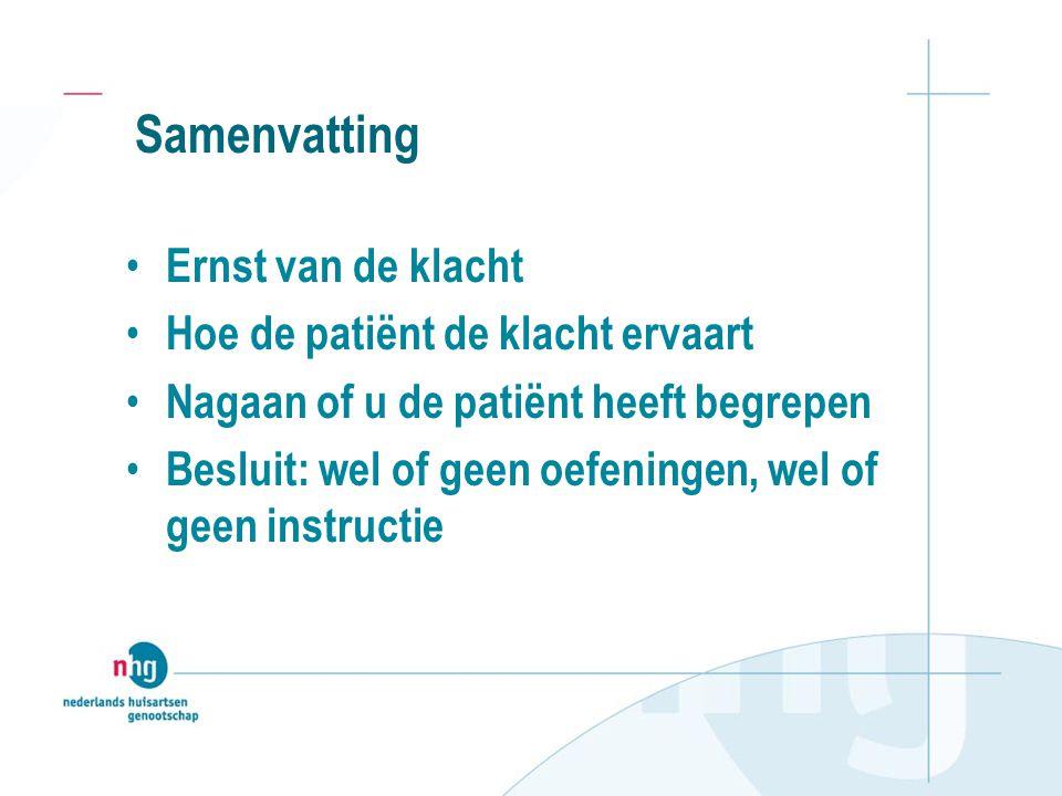 Samenvatting Ernst van de klacht Hoe de patiënt de klacht ervaart Nagaan of u de patiënt heeft begrepen Besluit: wel of geen oefeningen, wel of geen instructie