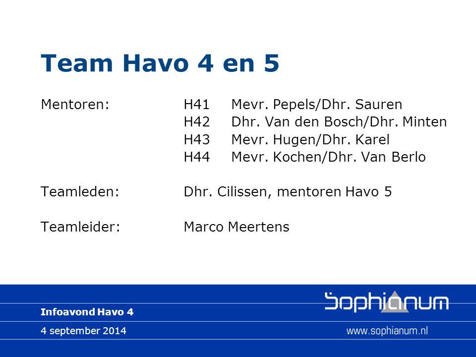 4 september 2014 Infoavond Havo 4 Team Havo 4 en 5 Mentoren:H41Mevr.
