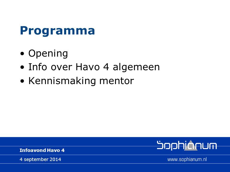 Infoavond Havo 4 Programma Opening Info over Havo 4 algemeen Kennismaking mentor