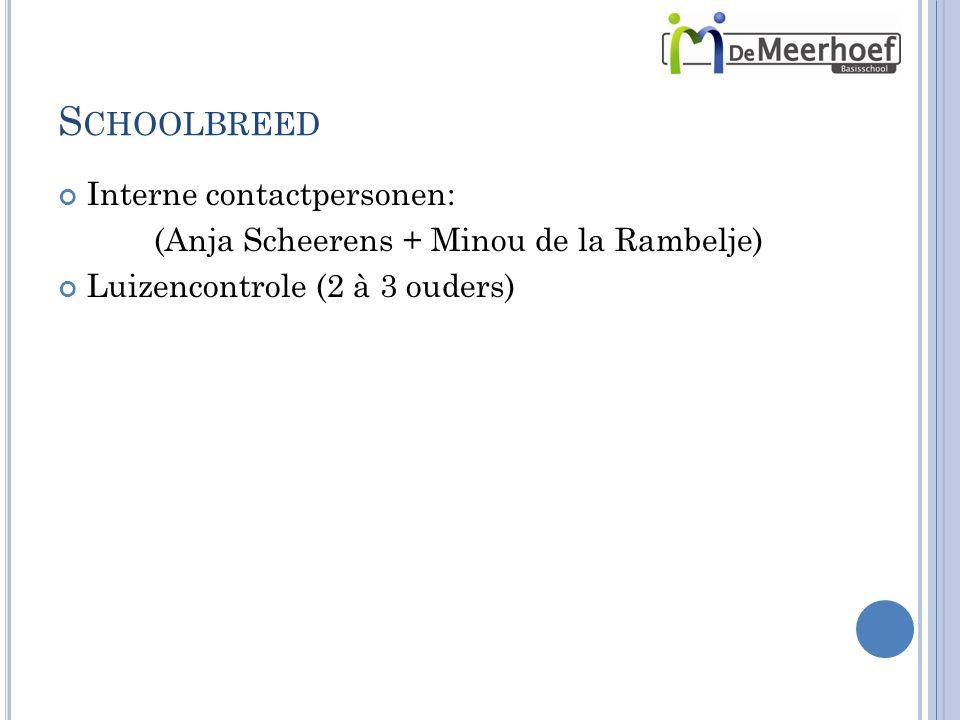 S CHOOLBREED Interne contactpersonen: (Anja Scheerens + Minou de la Rambelje) Luizencontrole (2 à 3 ouders)