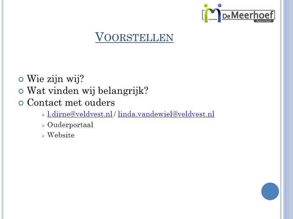 V OORSTELLEN Wie zijn wij? Wat vinden wij belangrijk? Contact met ouders  l.dirne@veldvest.nl / linda.vandewiel@veldvest.nl l.dirne@veldvest.nllinda.