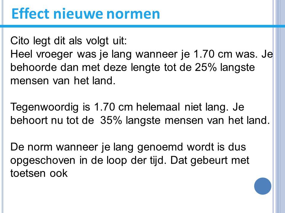 Effect nieuwe normen Cito legt dit als volgt uit: Heel vroeger was je lang wanneer je 1.70 cm was. Je behoorde dan met deze lengte tot de 25% langste