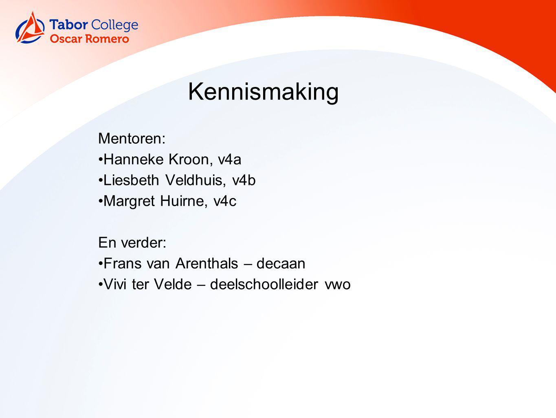 Mentoren: Hanneke Kroon, v4a Liesbeth Veldhuis, v4b Margret Huirne, v4c En verder: Frans van Arenthals – decaan Vivi ter Velde – deelschoolleider vwo
