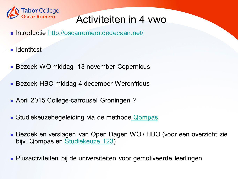 Activiteiten in 4 vwo Introductie http://oscarromero.dedecaan.net/http://oscarromero.dedecaan.net/ Identitest Bezoek WO middag 13 november Copernicus