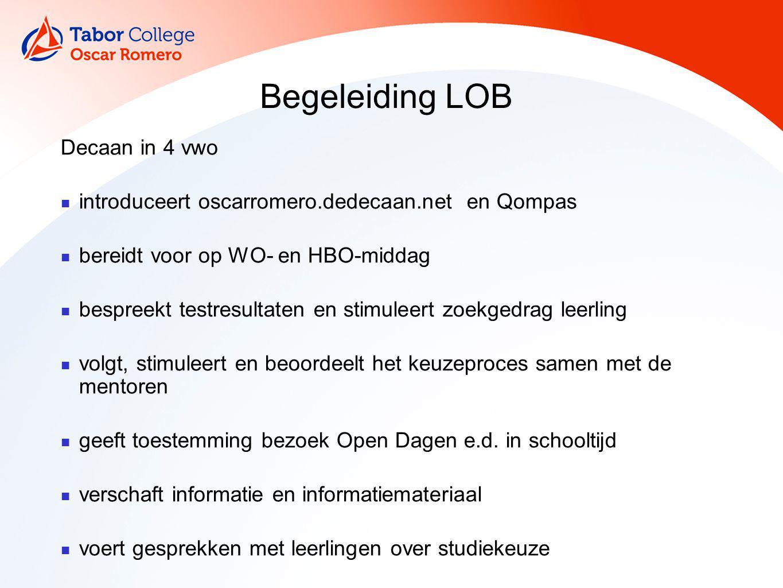 Begeleiding LOB Decaan in 4 vwo introduceert oscarromero.dedecaan.net en Qompas bereidt voor op WO- en HBO-middag bespreekt testresultaten en stimulee