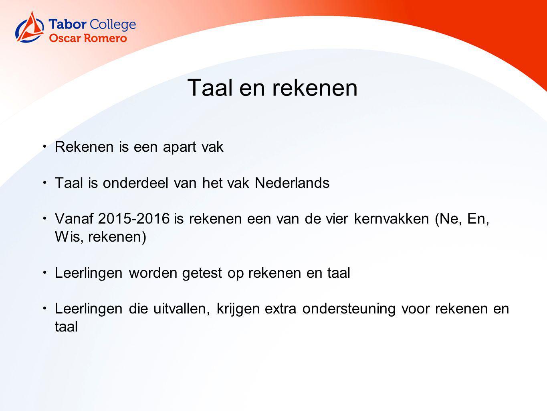 Taal en rekenen Rekenen is een apart vak Taal is onderdeel van het vak Nederlands Vanaf 2015-2016 is rekenen een van de vier kernvakken (Ne, En, Wis,