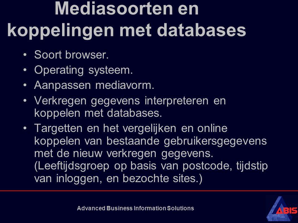 Advanced Business Information Solutions Mediasoorten en koppelingen met databases Soort browser. Operating systeem. Aanpassen mediavorm. Verkregen geg