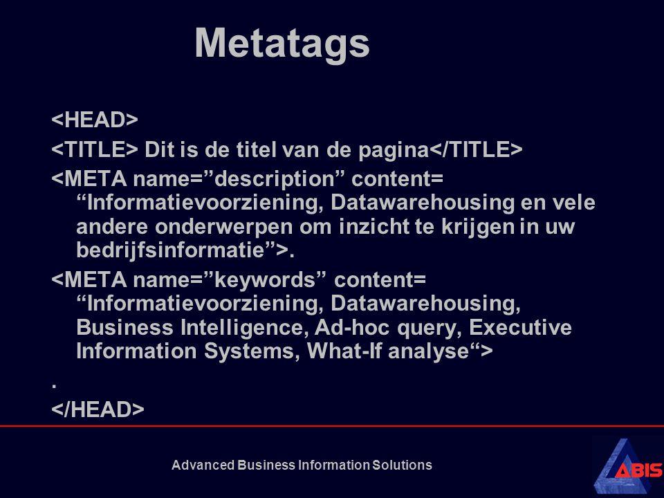Advanced Business Information Solutions Metatags Dit is de titel van de pagina..