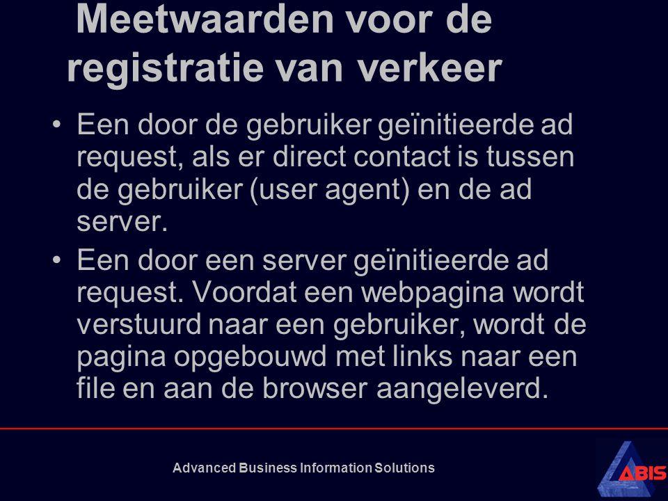 Advanced Business Information Solutions Meetwaarden voor de registratie van verkeer Een door de gebruiker geïnitieerde ad request, als er direct contact is tussen de gebruiker (user agent) en de ad server.