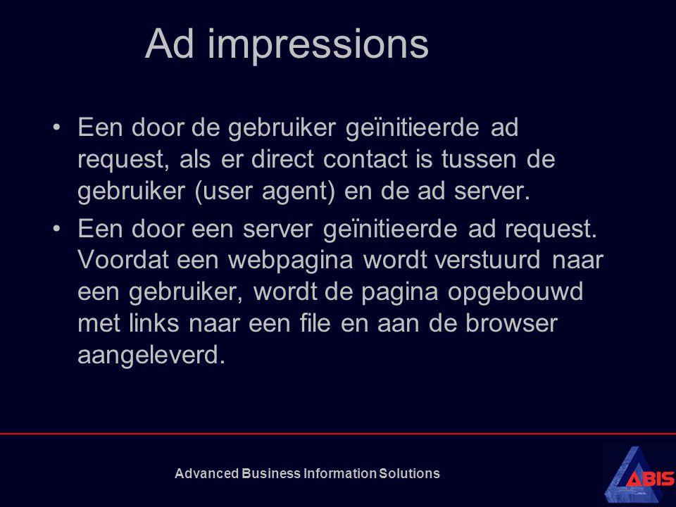 Advanced Business Information Solutions Ad impressions Een door de gebruiker geïnitieerde ad request, als er direct contact is tussen de gebruiker (us