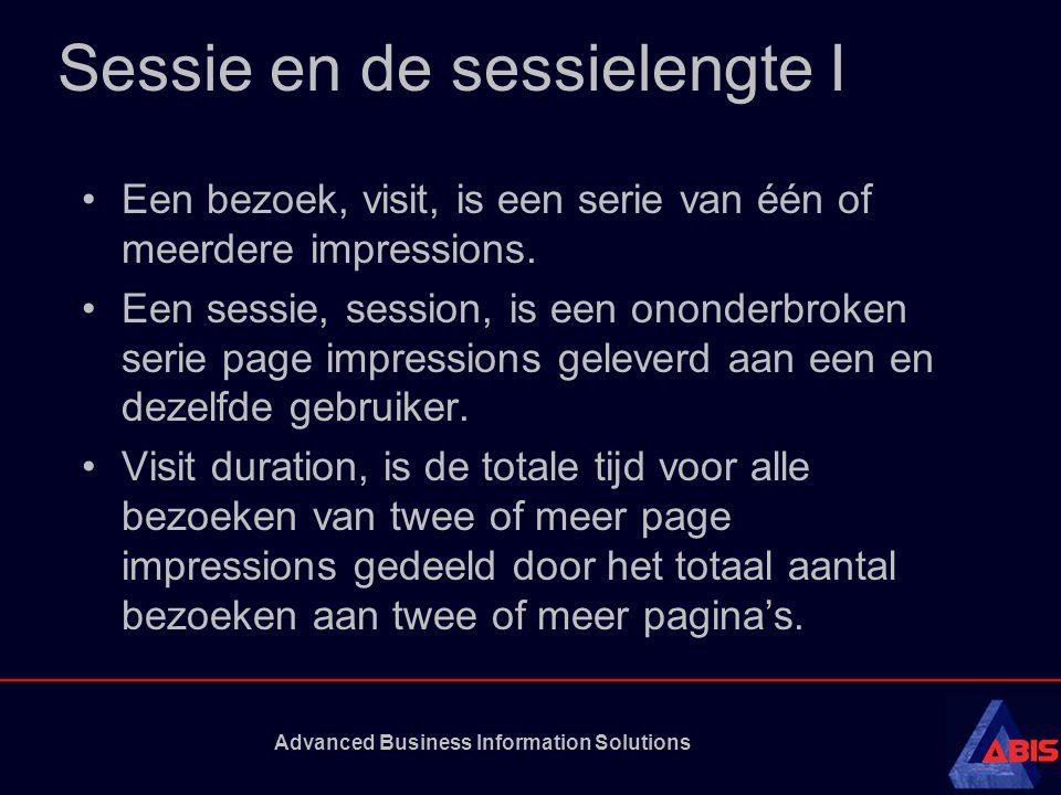 Advanced Business Information Solutions Sessie en de sessielengte I Een bezoek, visit, is een serie van één of meerdere impressions.
