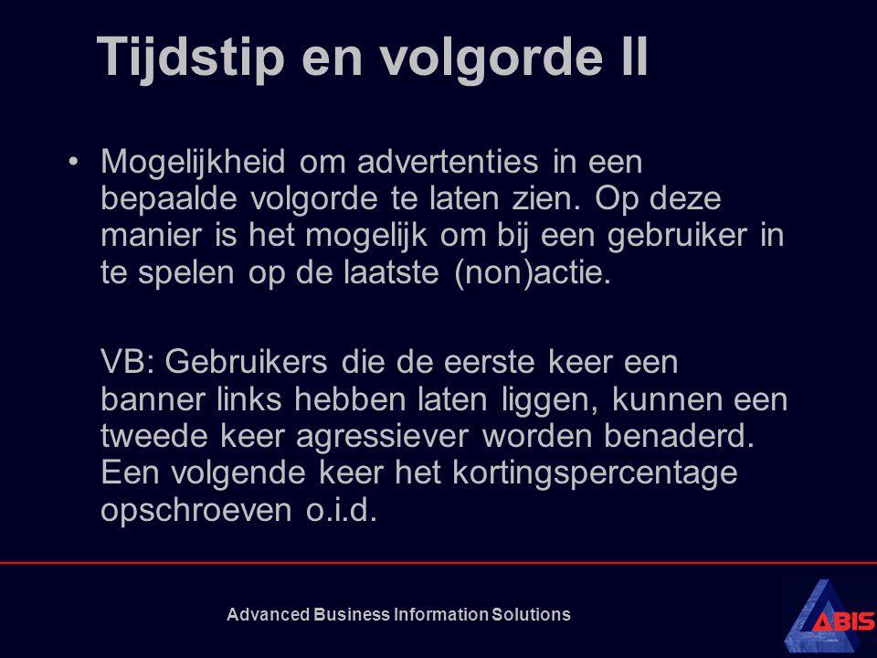 Advanced Business Information Solutions Tijdstip en volgorde II Mogelijkheid om advertenties in een bepaalde volgorde te laten zien.