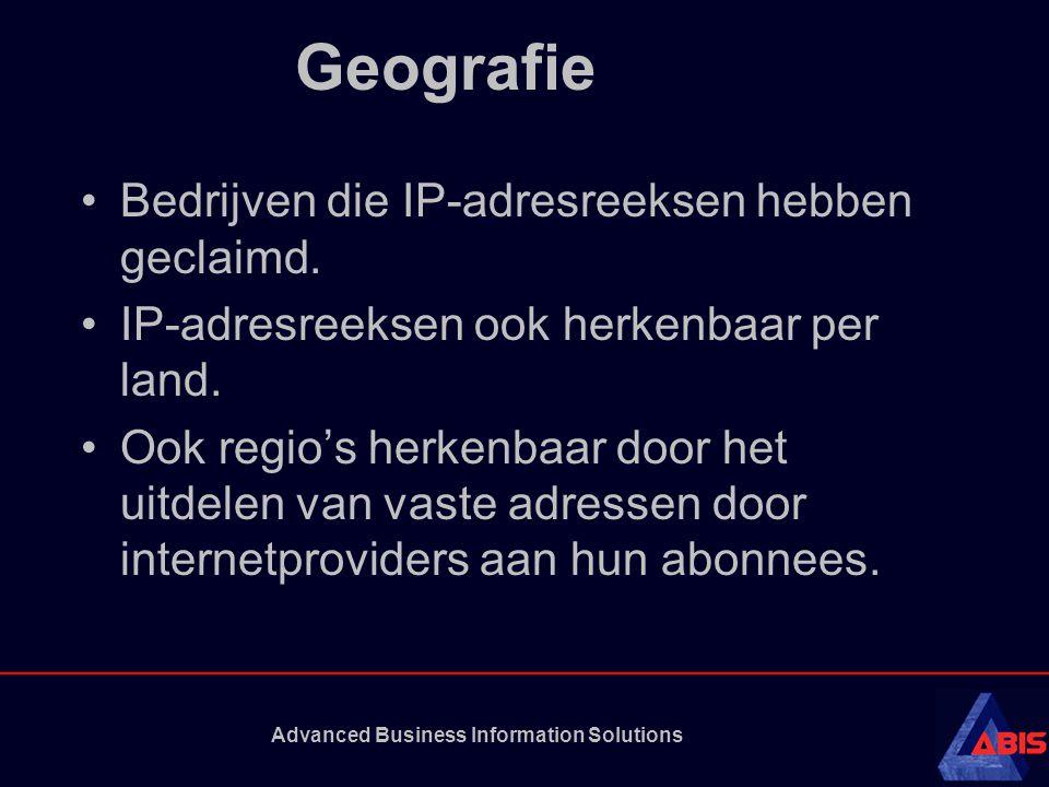 Advanced Business Information Solutions Geografie Bedrijven die IP-adresreeksen hebben geclaimd.