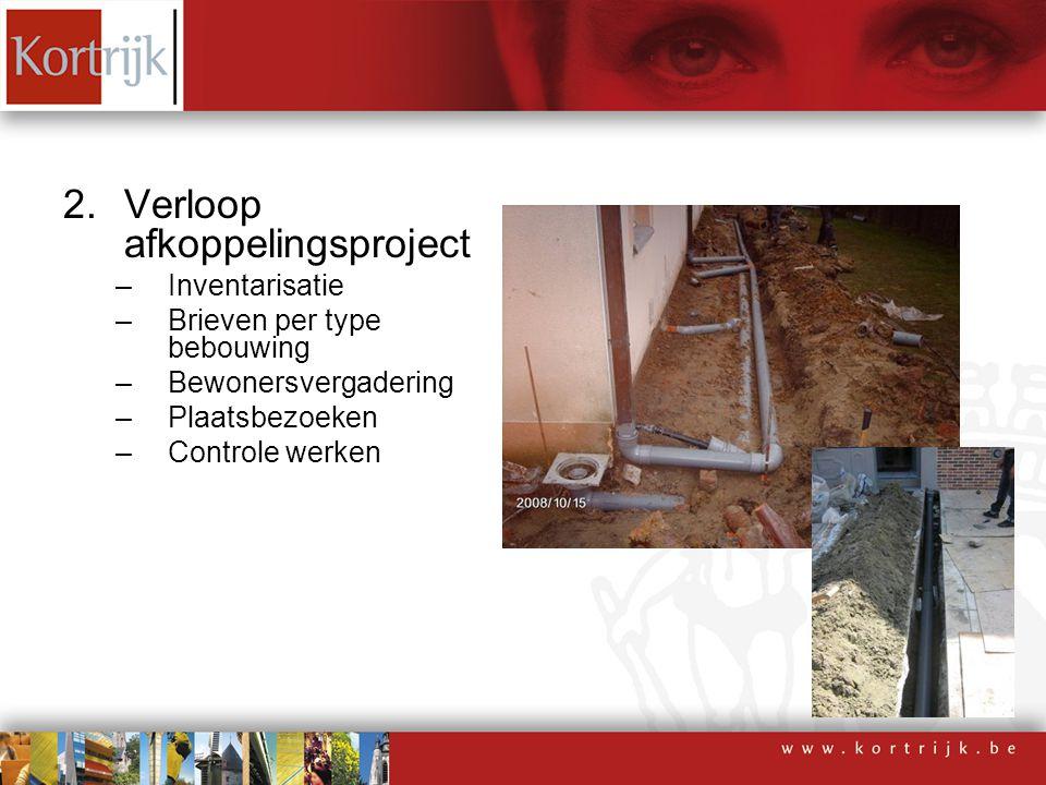2.Verloop afkoppelingsproject –Inventarisatie –Brieven per type bebouwing –Bewonersvergadering –Plaatsbezoeken –Controle werken