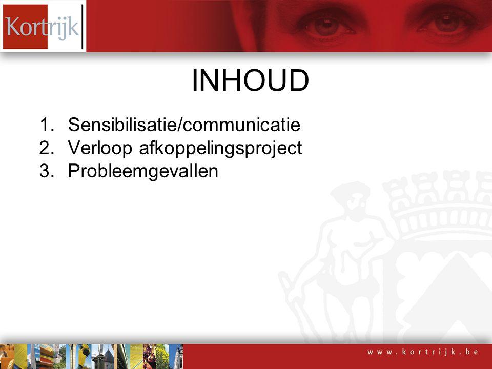 1.Sensibilisatie/communicatie 2.Verloop afkoppelingsproject 3.Probleemgevallen INHOUD