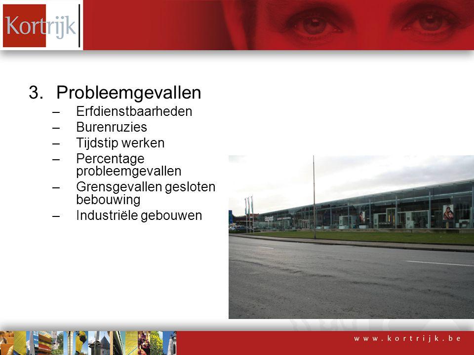 3.Probleemgevallen –Erfdienstbaarheden –Burenruzies –Tijdstip werken –Percentage probleemgevallen –Grensgevallen gesloten bebouwing –Industriële gebou