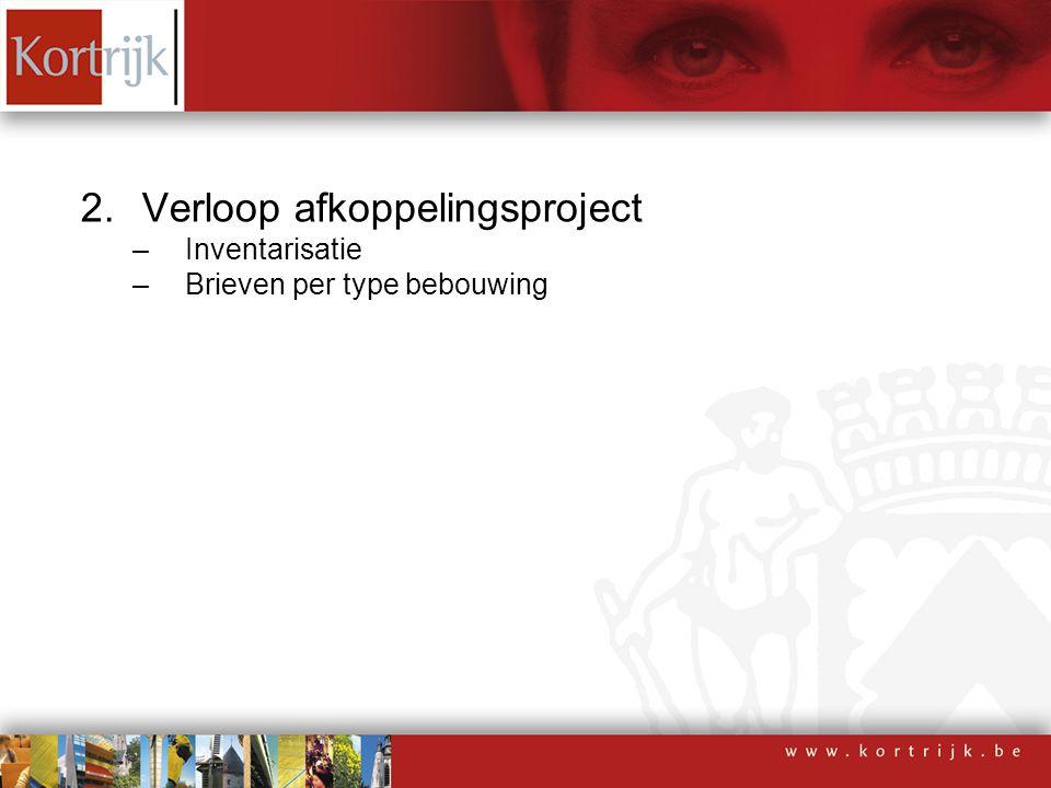2.Verloop afkoppelingsproject –Inventarisatie –Brieven per type bebouwing