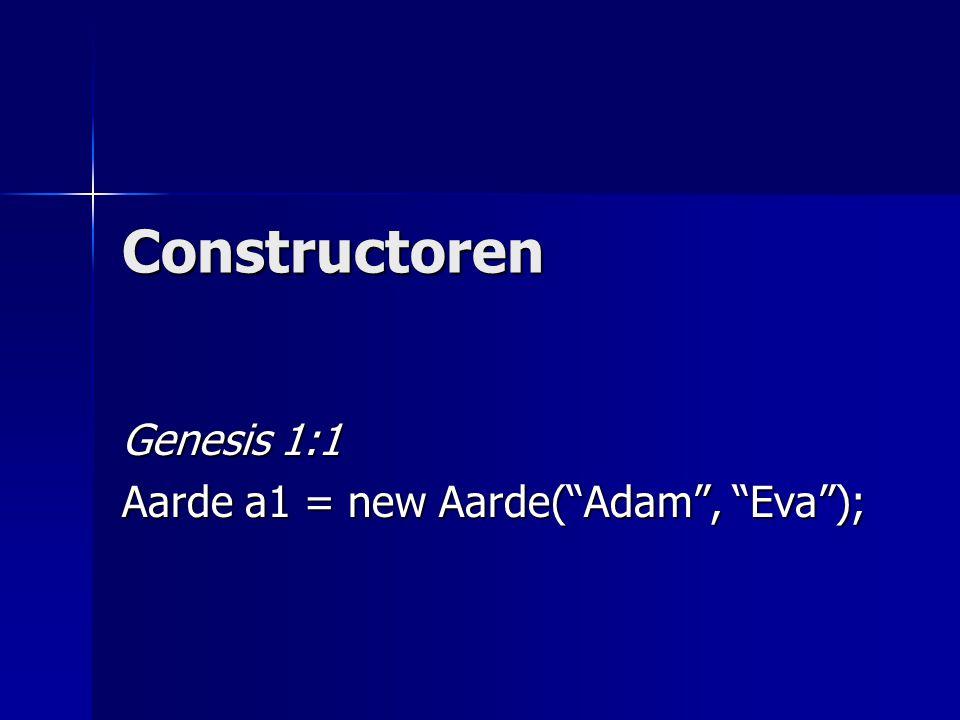 Constructoren Genesis 1:1 Aarde a1 = new Aarde( Adam , Eva );
