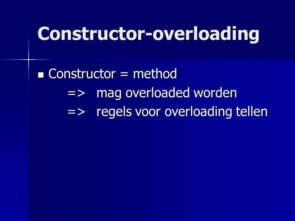 De default constructor = constructor met 0 parameters = constructor met 0 parameters Geeft standaardwaarden aan de attributen (!= geen waarden geven) Geeft standaardwaarden aan de attributen (!= geen waarden geven)