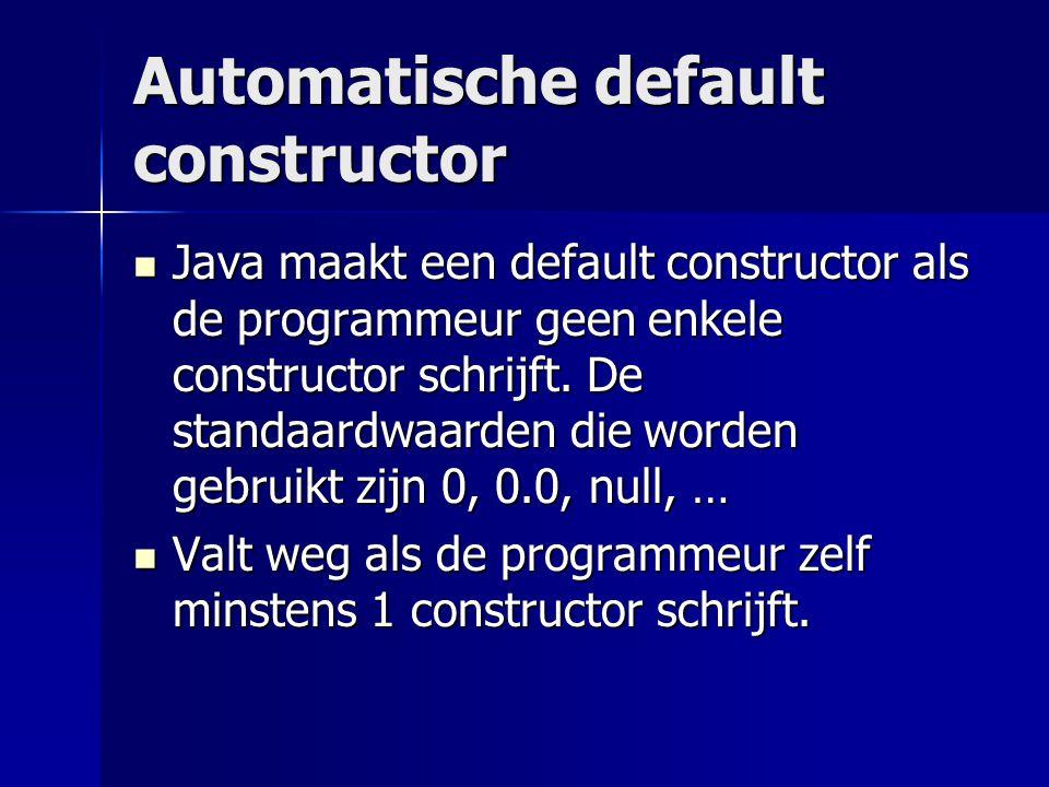 Automatische default constructor Java maakt een default constructor als de programmeur geen enkele constructor schrijft.