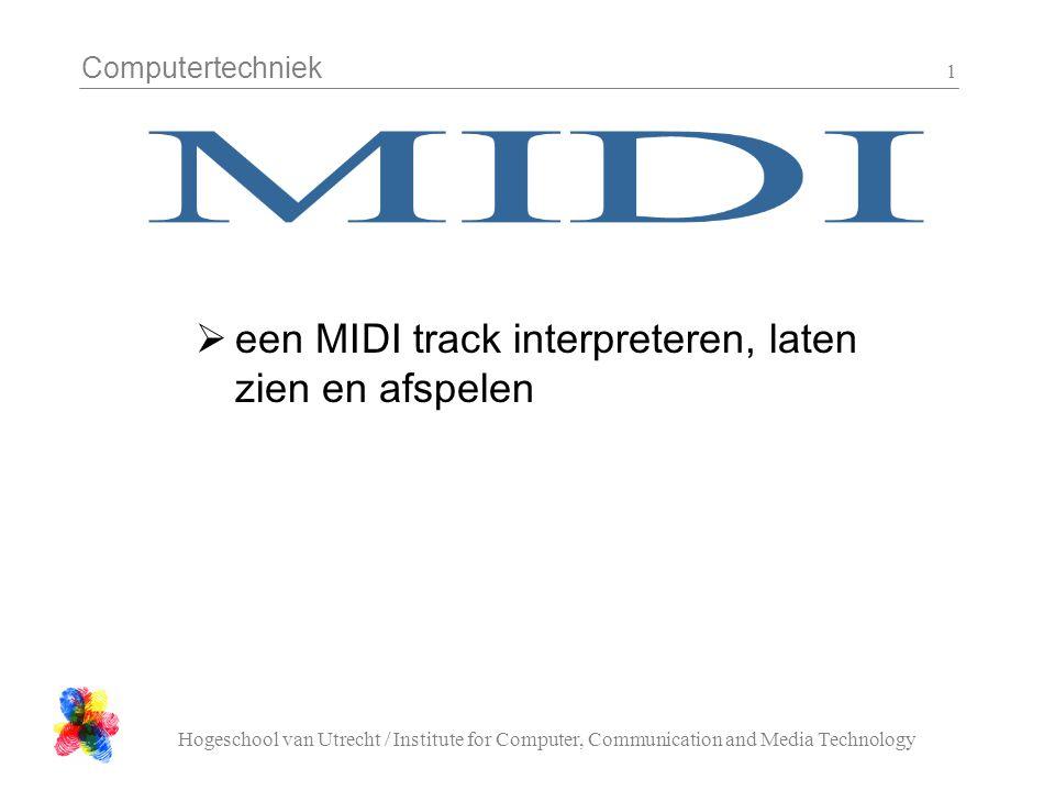 Computertechniek Hogeschool van Utrecht / Institute for Computer, Communication and Media Technology 12 Een MIDI file (nav.mid) Eerste event van de eerste track