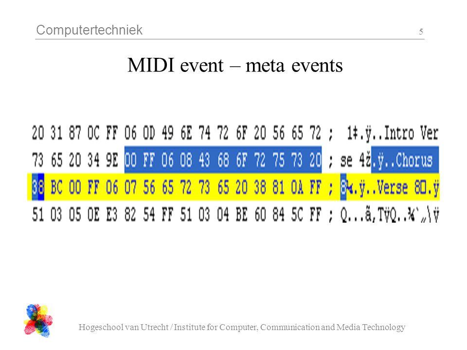 Computertechniek Hogeschool van Utrecht / Institute for Computer, Communication and Media Technology 16 Opdracht : MIDI afspelen Test files: –nav.mid 1 2 –qn.mid 2 3 –bss.mid 1 3 De laatste (bss) is niet te herkennen, maar is een test voor 'running status' events.