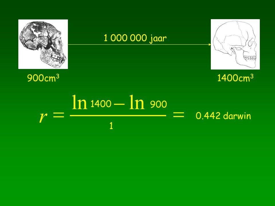 900cm 3 1400cm 3 1 000 000 jaar r 1400   ln 900 1  0.442 darwin