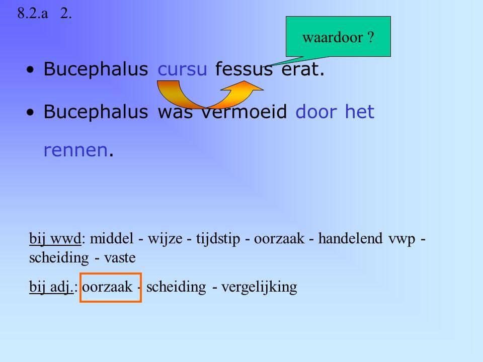 Bucephalus cursu fessus erat.Bucephalus was vermoeid door het rennen.