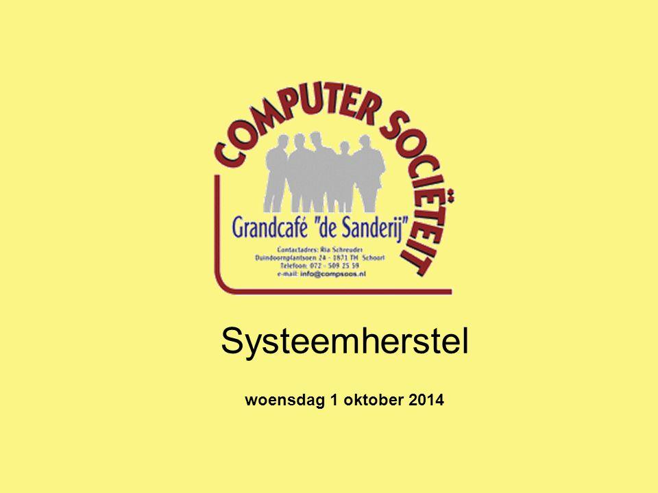 Systeemherstel woensdag 1 oktober 2014