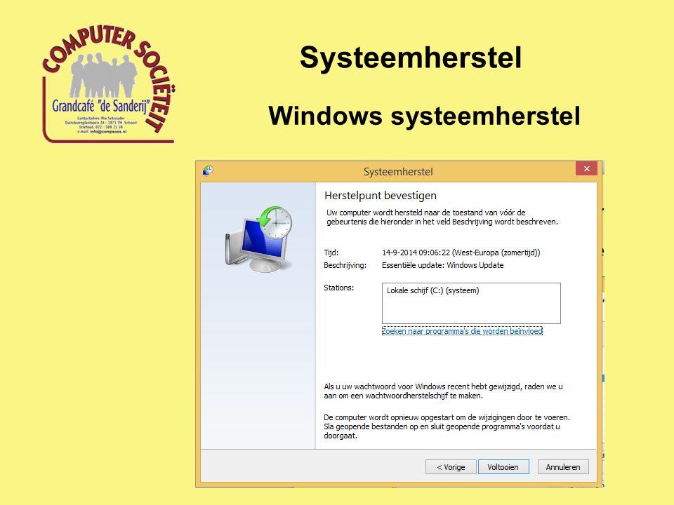 Systeemherstel Windows systeemherstel