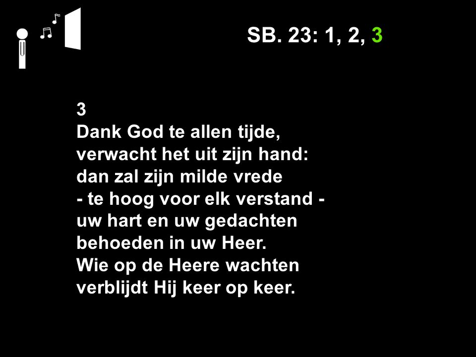 Mededelingen L.v.K.446: 1, 2, 3 Stil gebed Votum en groet Ps.