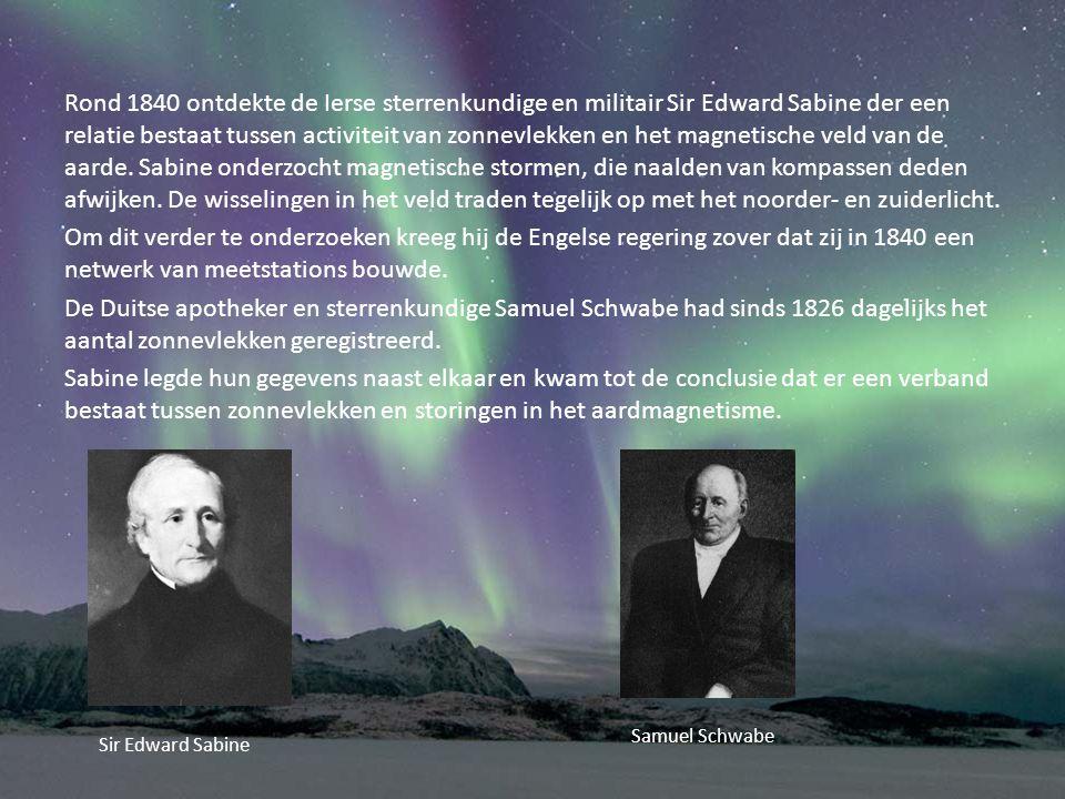 Rond 1840 ontdekte de Ierse sterrenkundige en militair Sir Edward Sabine der een relatie bestaat tussen activiteit van zonnevlekken en het magnetische veld van de aarde.